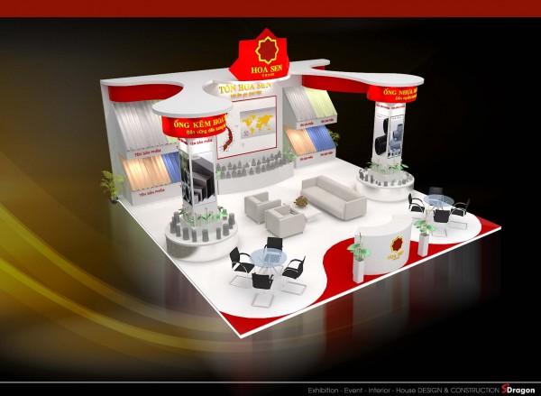 Thiết kế thi công gian hàng hội chợ triển lãm công ty HOA SEN GROUP