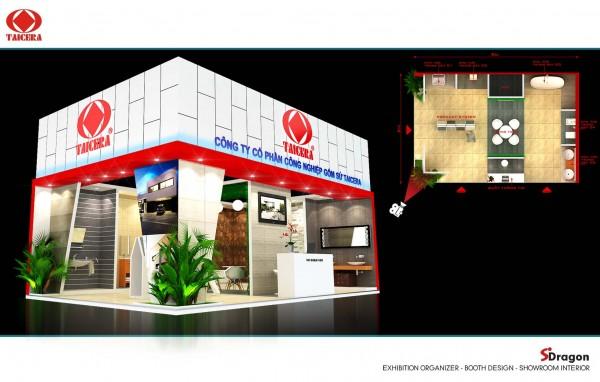 Thiết kế thi công gian hàng hội chợ triển lãm công ty TAICERA Booth