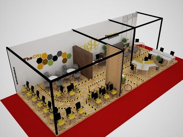 Thiết kế thi công gian hàng hội chợ triển lãm công ty THE CITY BOOTH