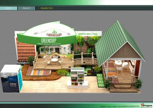 Thiết kế gian hàng hội chợ triển lãm công ty GREEN WOOD BOOTH