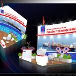 Thiết kế gian hàng triển lãm công ty Dầu khí Vận tải – TL Dầu khí 2015 (KT 6×6)