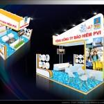 Thiết kế gian hàng triển lãm công ty Bảo hiểm PVI – TL Dầu khí 2015 (KT 6×6)