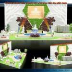 Thiết kế gian hàng triển lãm công ty Phúc Khang Group – TL Vietbuild Hanoi 2016 Lần 2 (KT 12×15)