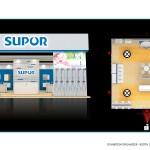 Thiết kế gian hàng triển lãm công ty Supor – TL Vietbuild Hanoi 2016 (KT 9×9)