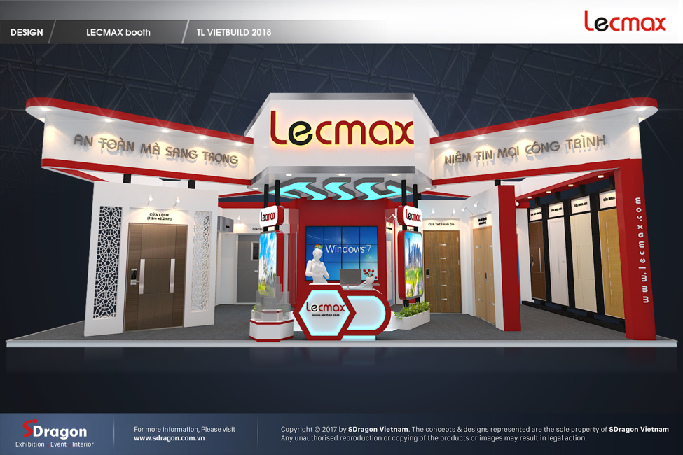 Hình ảnh 3D thiết kế gian hàng sản phẩm cửa tại VIETBUILD