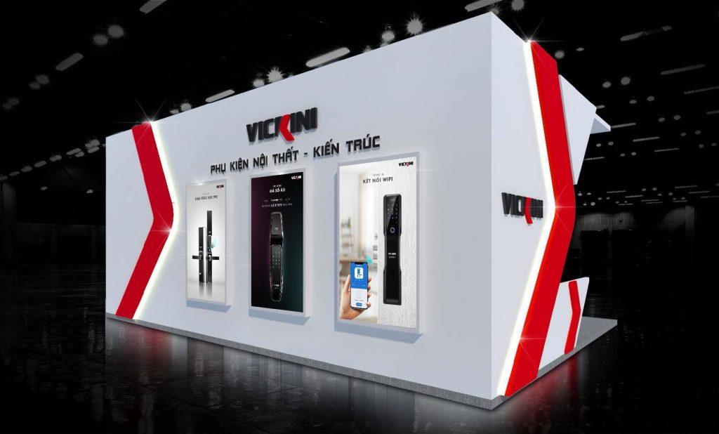 Thiết kế thi công gian hàng khóa cửa tại triển lãm Vietbuild
